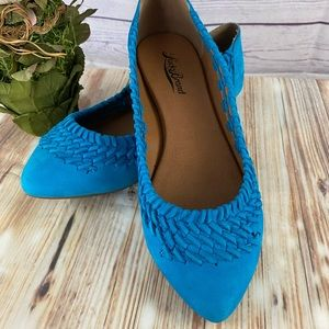 Lucky Brand- Blue Leather Braided Point Toe Flats